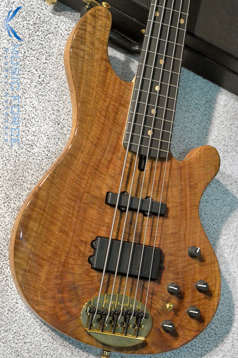Lakland US Custom 55-94 Deluxe Mahogany-Figured Walnut Burl Top w/Ebony FB, Black Painted Headstock & Black Gold HW(2017년산/신품)
