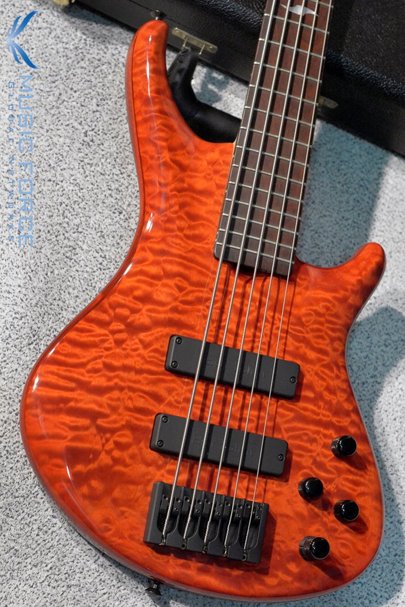 [이월상품창고대방출!!!] Roscoe SKB Custom 5 Exhibition Grade Quilted Maple Top-Trans Orange Finish w/Cocobolo Fingerboard(2014년산/신품)